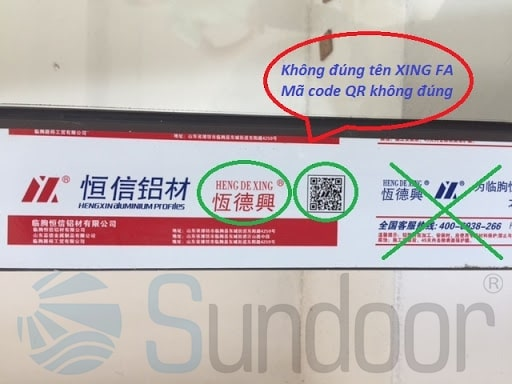 mã code không đúng tên Xingfa
